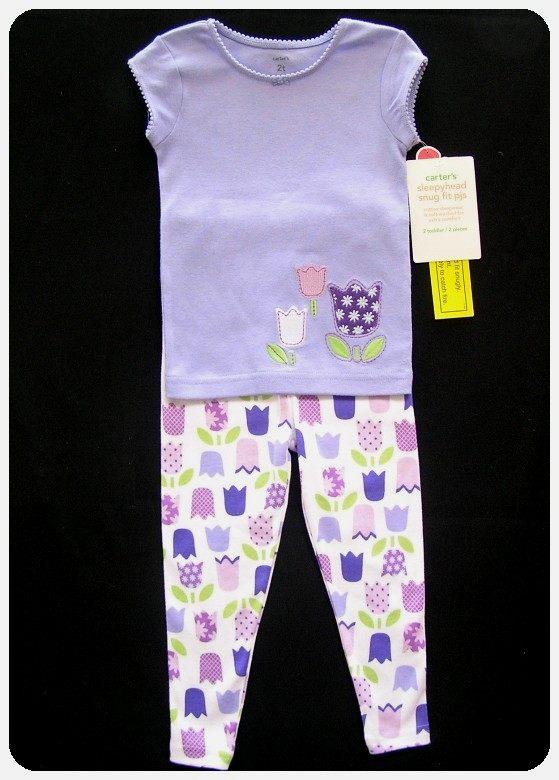 New Nwt Carters Tulip Pajamas Pjs Purple Pink Girls 2t 4t